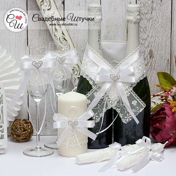 Комплект аксессуаров для свадьбы Нежное сердце (белый)