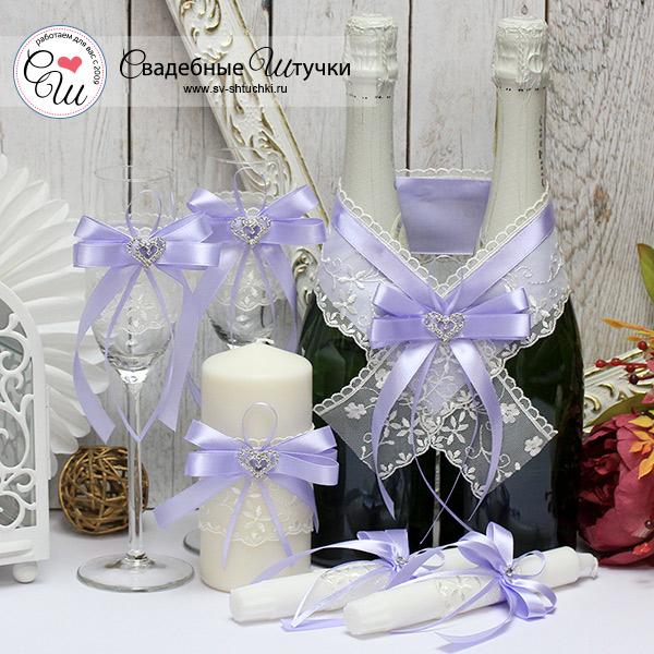 Комплект аксессуаров для свадьбы Нежное сердце (сиреневый)