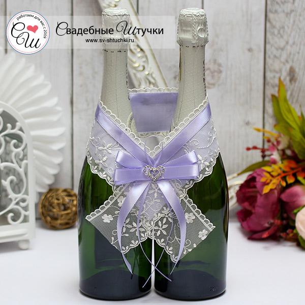 Украшение для шампанского Нежное сердце (сиреневый)