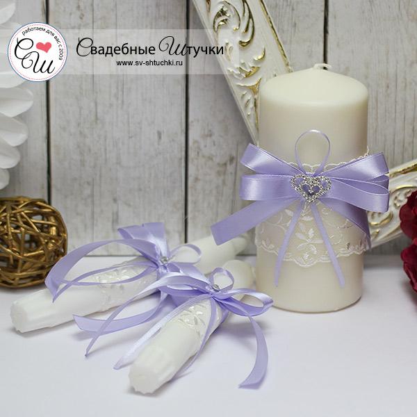 Домашний очаг + 2 свечи Нежное сердце (без подсвечников) (сиреневый)