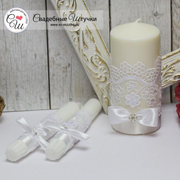 """Домашний очаг + 2 свечи """"Цветочный вальс"""" (белый)"""