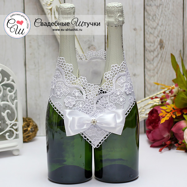 Украшение для свадебного шампанского Цветочный вальс (белый)