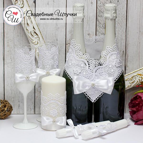 Комплект аксессуаров для свадьбы Цветочный вальс (белый)