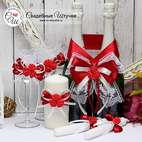Комплект аксессуаров для свадьбы Розанна (бордовый)