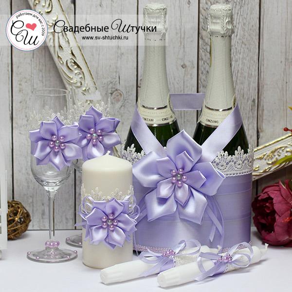 Комплект аксессуаров для свадьбы Нежные цветы (сиреневый)