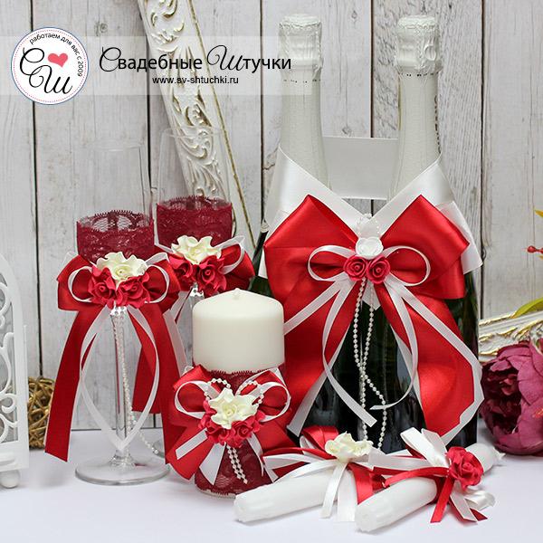 Комплект аксессуаров на свадьбу Romantic (бордовый)
