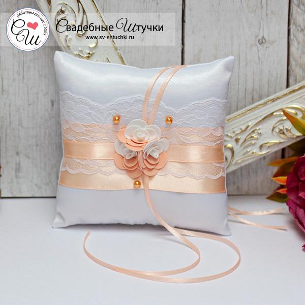 Подушечка для колец Изысканные розы (персиковый)