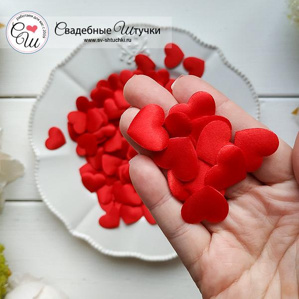 Сердечки для обсыпания или декора, 100 шт.( 2 см), красный