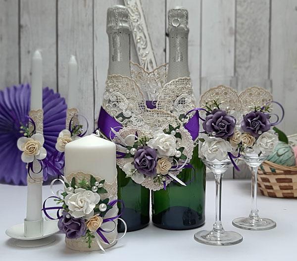 Комплект аксессуаров для свадьбы Райские цветы (фиолетовый)