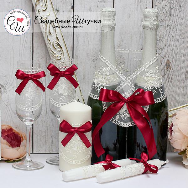 """Недорогой набор свадебных аксессуаров """"Бантик"""" (3)(винный)"""