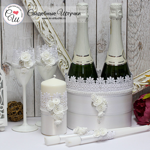 Комплект аксессуаров для свадьбы Райское счастье (белый)