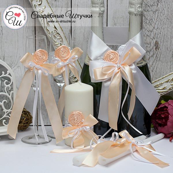 Комплект свадебных аксессуаров Медовый леденец (персиковый)
