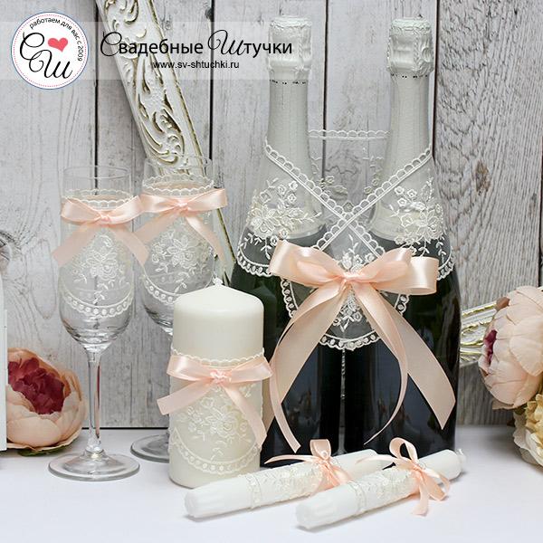 Недорогой набор свадебных аксессуаров Бантик (персиковый)