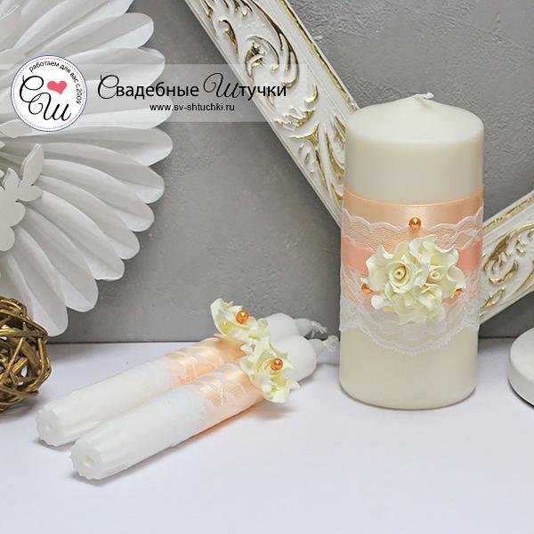 Свадебные свечи Изысканные розы (без подсвечников) (персиковый)
