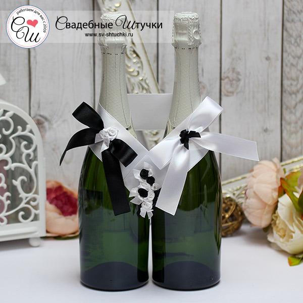 """Декоративное украшение для шампанского """"Изысканная пара"""" (черный)"""