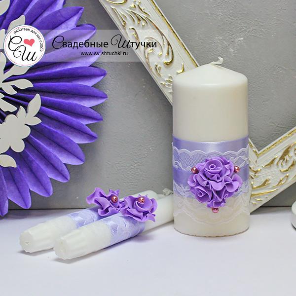 Свадебные свечи Изысканные розы (без подсвечников) (сиреневый)