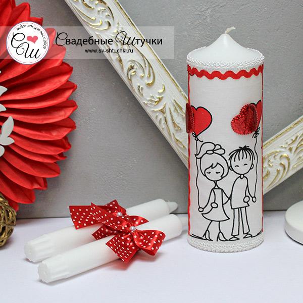 """Свадебные свечи """"Это любовь"""" (без подсвечников) (красный)"""
