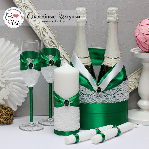 Комплект свадебных аксессуаров Афродита (изумрудный)