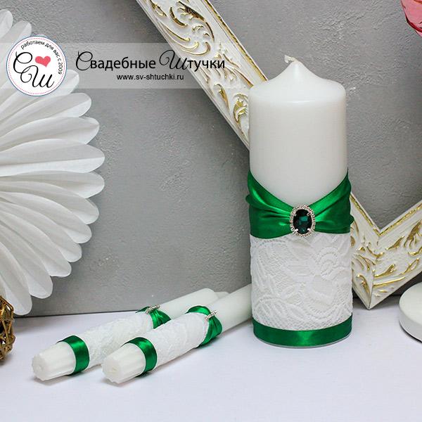 Свадебный набор свечей Афродита (без подсвечников) (изумрудный)