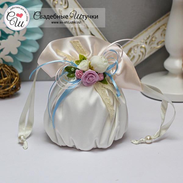 """Свадебная сумочка для невесты """"Весенний поцелуй"""" (голубой)"""