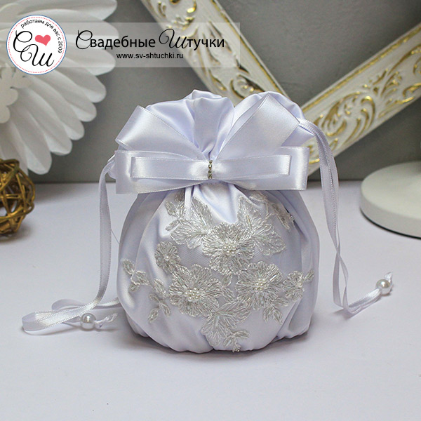 "Атласная сумочка для невесты ""Сонет"" (белый)"