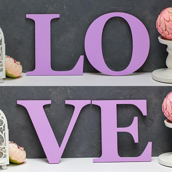Буквы для фотосессии LoVe (сиреневый)