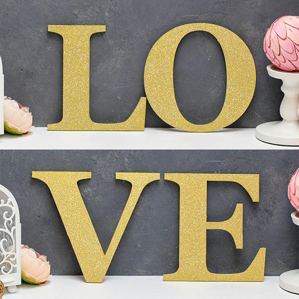 Буквы для фотосессии LoVe (золотой с блеском)