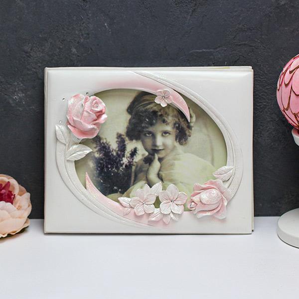 "Книга пожеланий на свадьбу с местом для фото ""Мерцание роз"""