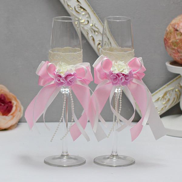 Свадебные бокалы для молодоженов Romantic (розовый)