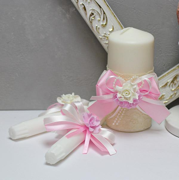 Домашний очаг + 2 свечи Romantic (розовый)