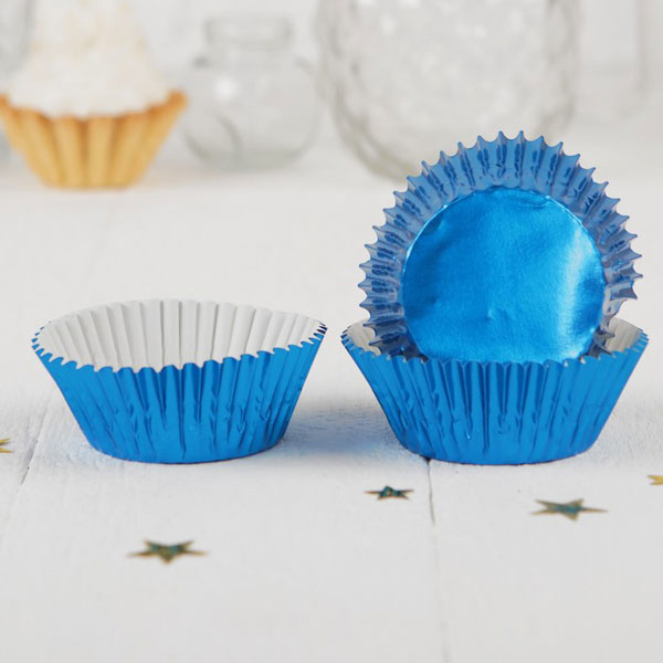 Формочки для кексов Блеск, 24 шт (синий)