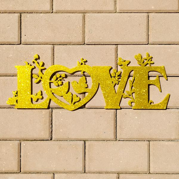 Слово для фотосессии LOVE (50 см) (золотой с блестками)