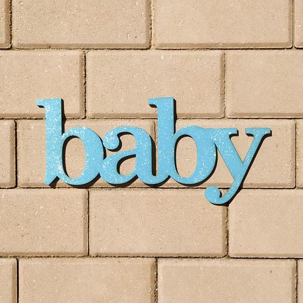 Слово для фотосессии и декора Baby (бирюзовый с блестками)