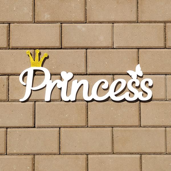 """Деревянное слово для фотосессии """"Princess"""" (белый)"""