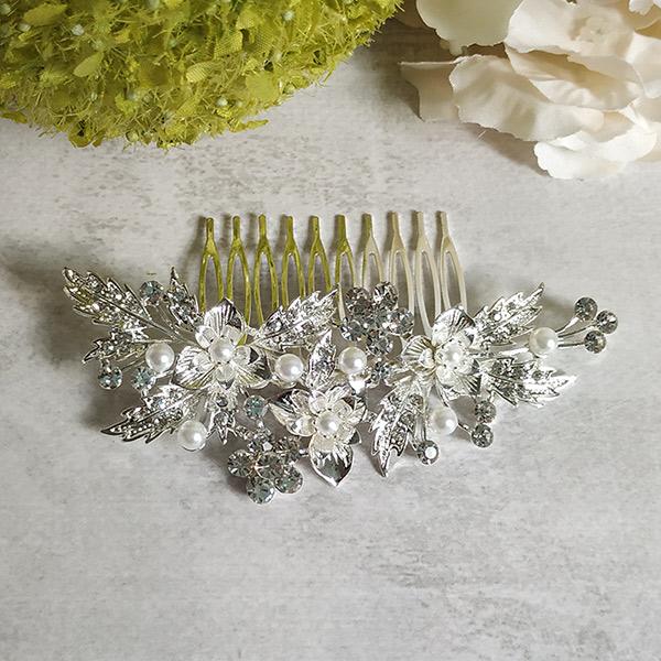 """Свадебный гребень для невесты """"Эффектные цветы, 2D"""" (11х4 см)"""
