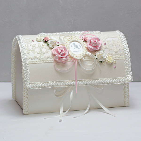 """Свадебный сундучок для денег открывающийся """"Таинственный сад"""" (айвори-розовый)"""