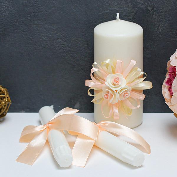 Свадебные свечи Валенсия (3 свечи без подсвечников) (айвори/персиковый))