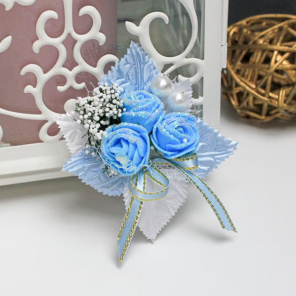 Бутоньерка для жениха Макс (голубой)