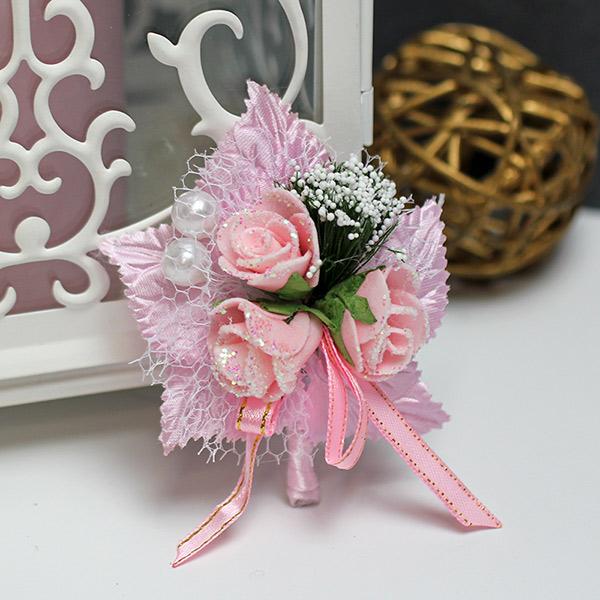 """Бутоньерка для жениха """"Макс"""" (розовый)"""