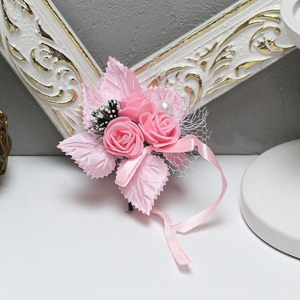 Бутоньерка для жениха Макс-2, без крепления (розовый)