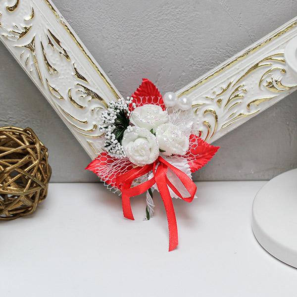 Бутоньерка для жениха Макс-2, без крепления (красно-белый)