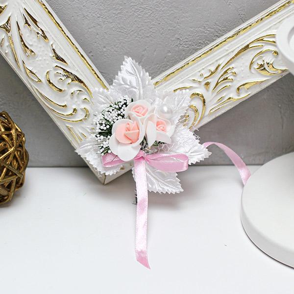 Бутоньерка для жениха Макс-2, без крепления (бело-розовый)