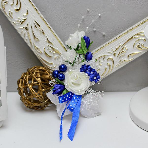 Бутоньерка для жениха Букетик, без крепления (сине-белый)
