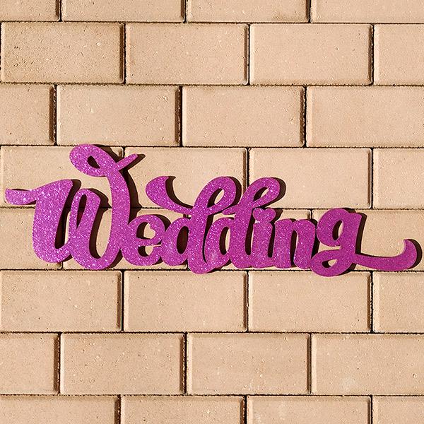 Слово для фотосессии Wedding (65 см) (фуксия с блестками)