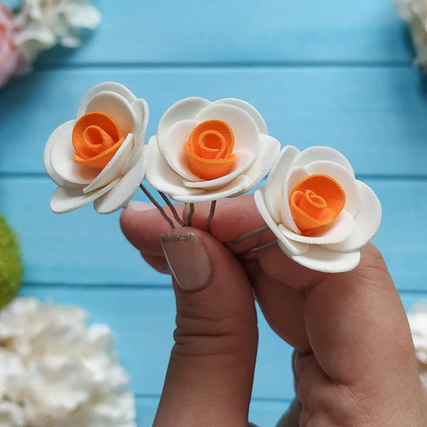 """Свадебная шпилька """"Соблазн"""" (белый/оранжевый)"""