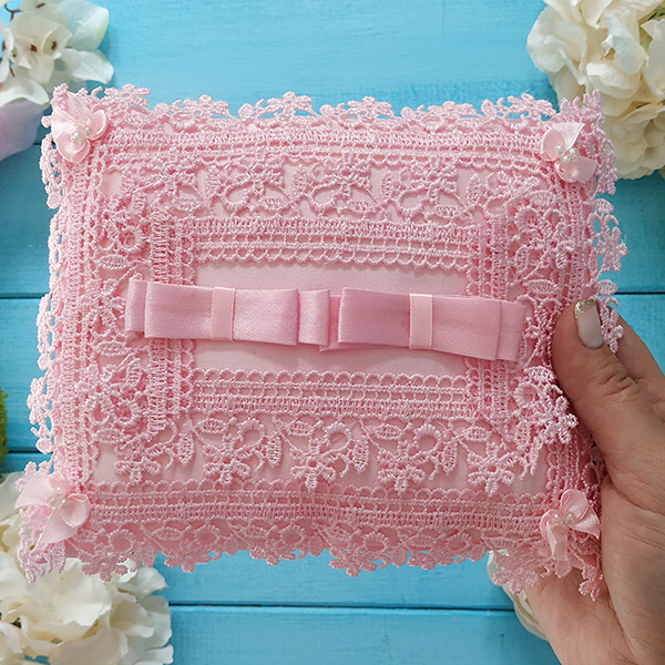 """Свадебная подушечка для колец """"Цветочная полянка"""" (розовый)"""