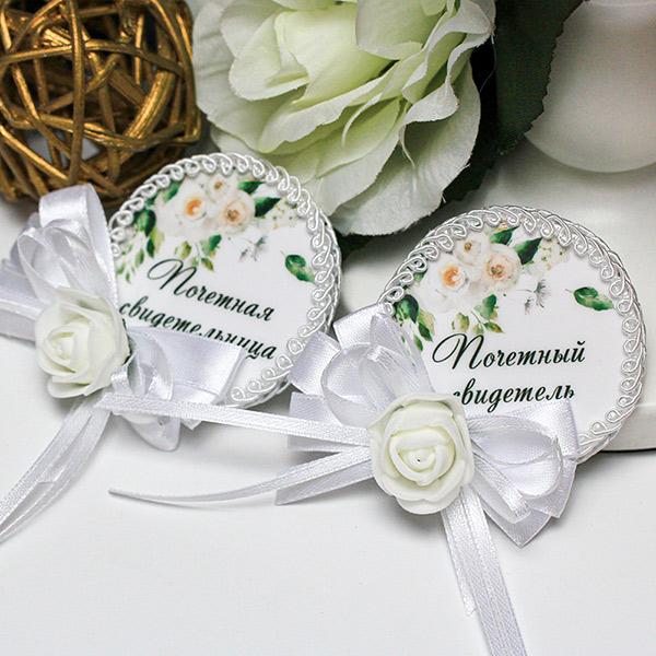 """Свадебные значки ручной работы """"Розанна"""" (2 шт; возможна другая надпись)"""