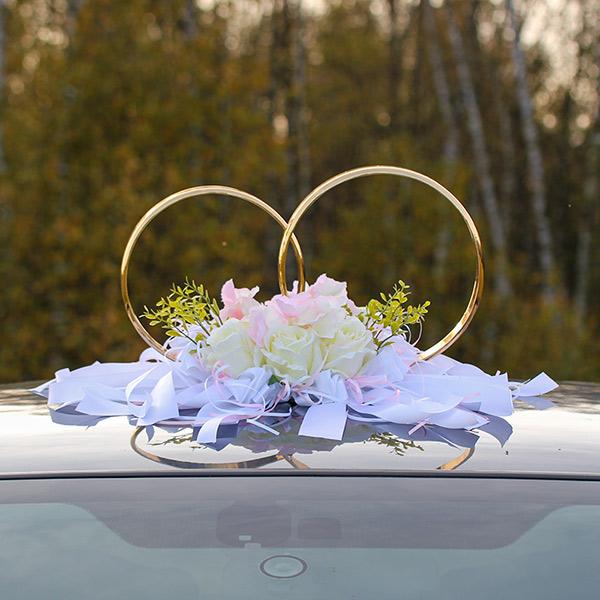 """Кольца на свадебное авто """"Очарование"""" (нежно-розовый/белый)(розы+гортензия)"""