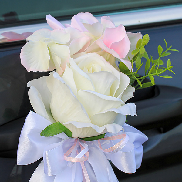 """Бутоньерки на зеркала """"Очарование"""" (нежно-розовый/белый)(розы+гортензия)"""