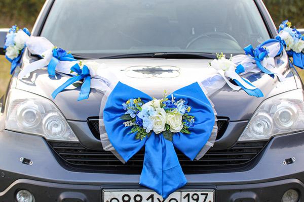 Свадебная лента на автомобиль Винтажная роскошь (синий)